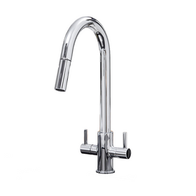 SIA KT4CH Chrome Pull Out Spray Twin Lever Monobloc Kitchen Sink Mixer Tap