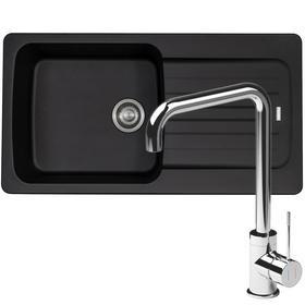 Franke Aveta 1.0 Bowl Black Tectonite Kitchen Sink And Reginox Angel Mixer Tap