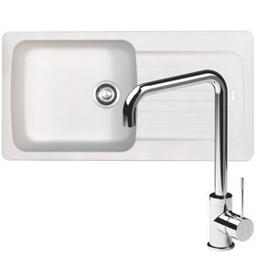 Franke Aveta 1.0 Bowl White Tectonite Kitchen Sink And Reginox Angel Mixer Tap