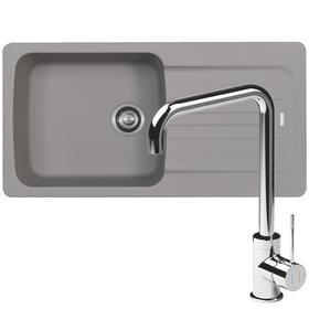 Franke Aveta 1.0 Bowl Grey Tectonite Kitchen Sink And Reginox Angel Mixer Tap
