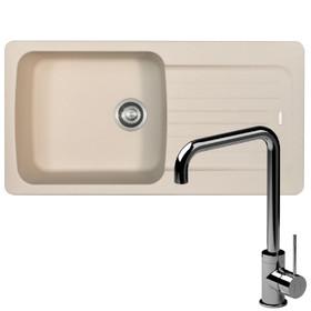 Franke Aveta 1.0 Bowl Cream Tectonite Kitchen Sink And Reginox Angel Mixer Tap