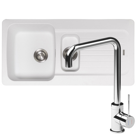 Franke Aveta 1.5 Bowl White Tectonite Kitchen Sink And Reginox Angel Mixer Tap