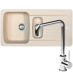 Franke Aveta 1.5 Bowl Cream Tectonite Kitchen Sink And Reginox Angel Mixer Tap