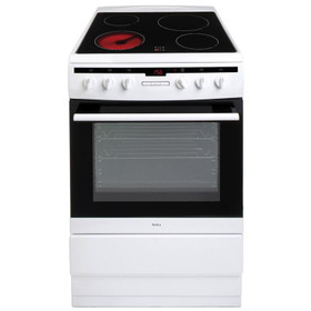 Amica 608CE2TAW 60cm White Free Standing Single Electric Cooker With Ceramic Hob