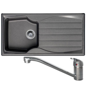 Astracast Sierra 1 Bowl Graphite Grey Composite Kitchen Sink And CDA TC10 Tap