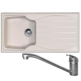 Astracast Sierra 1 Bowl Cream Composite Kitchen Sink & CDA TC10 Chrome Mixer Tap