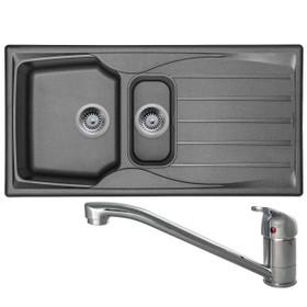 Astracast Sierra 1.5 Bowl Graphite Grey Kitchen Sink & CDA TC10 Swivel Mixer Tap