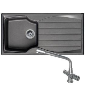 Astracast Sierra 1 Bowl Graphite Grey Kitchen Sink And CDA TC20 Chrome Mixer Tap