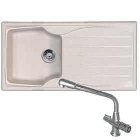 Astracast Sierra 1 Bowl Cream Kitchen Sink And CDA TC20 Chrome Swivel Mixer Tap