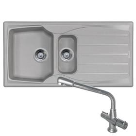 Astracast Sierra 1.5 Bowl Light Grey Kitchen Sink And CDA TC20 Chrome Mixer Tap