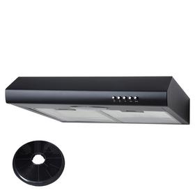 SIA STE50BL 50cm Black Slimline Visor Cooker Hood Kitchen Extractor Fan & Filter