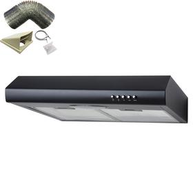 SIA STE50BL 50cm Black Slimline Visor Cooker Hood Extractor Fan & 1m Ducting