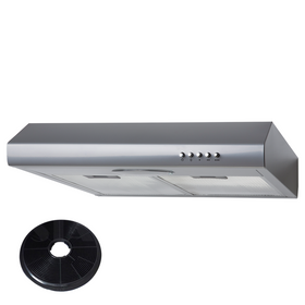 SIA STE50SI 50cm Silver Slimline Visor Cooker Hood Extractor Fan & Carbon Filter