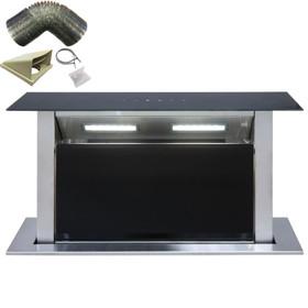 SIA DD60BL 60cm Black T/Control Downdraft Cooker Hood Extractor Fan & 1m Ducting
