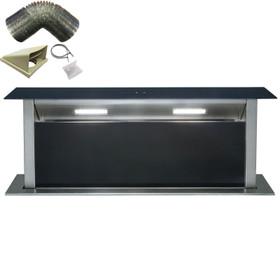 SIA DD90BL 90cm Black T/Control Downdraft Cooker Hood Extractor Fan & 1m Ducting