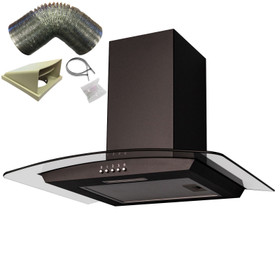 SIA CGH60BL 60cm Black Curved Glass Cooker Hood Extractor Fan And 3m Ducting Kit