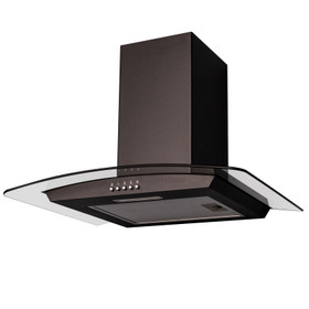 SIA CGH60BL 60cm Black Curved Glass Chimney Cooker Hood Kitchen Extractor Fan