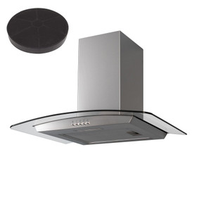 SIA CGH70SS 70cm Curved Glass/Stainless Steel Chimney Cooker Hood And Filter