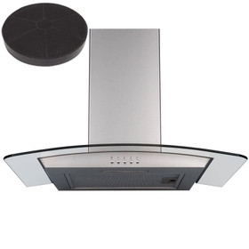 SIA 60cm Curved Glass Stainless Steel Cooker Hood Kitchen Extractor Fan & Filter