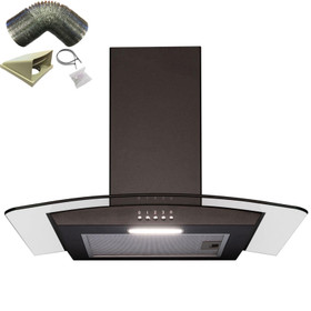 SIA 60cm Curved Glass Black Chimney Cooker Hood Kitchen Extractor & 1m Ducting