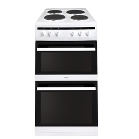Amica AFS5500WH 50cm White Free Standing Double Oven Cooker With Electric Hob