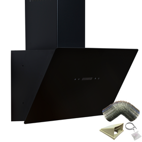 SIA TAG60BL 60cm Black Angled Touch Control Cooker Hood Extractor & 1m Ducting