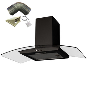 SIA CGH90BL 90cm Black Curved Glass Chimney Cooker Hood Extractor and 1m Ducting