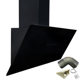 SIA TAG90BL 90cm Black Angled Touch Control Cooker Hood Extractor & 3m Ducting