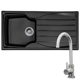Astracast Sierra 1.0 Bowl Black Kitchen Sink & KT6BN Single Lever Mixer Tap