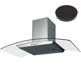 SIA CGH100SS 100cm Stainless Steel Curved Glass Cooker Hood and Carbon Filter