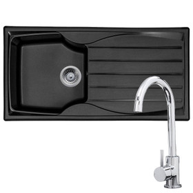 Astracast Sierra 1.0 Bowl Black Kitchen Sink & KT6CH Single Lever Mixer Tap