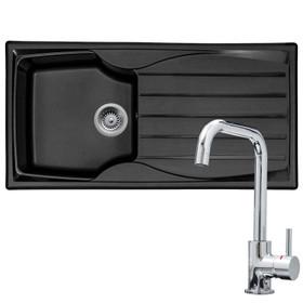 Astracast Sierra 1.0 Bowl Black Rversible Kitchen Sink & KT6CHD Modern Mixer Tap