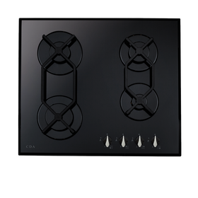 CDA HVG621BL 60cm Black Designer 4 Burner Gas on Glass Hob With FFD & LPG Kit