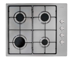 CDA HG6151SS  60cm Stainless Steel 4 Burner Gas Hob with Enamel Pan Stands & FFD