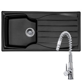 Astracast Sierra 1.0 Bowl Black Reversible Kitchen Sink & KT7 Pull-out Spray Tap