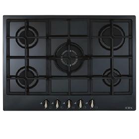 CDA HG7251BL 70cm Black 5 burner Designer Gas Hob | Cast Iron Pan Supports
