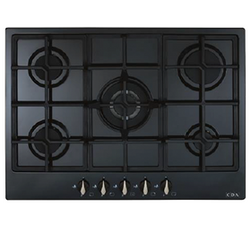CDA HG7251BL 70cm Black 5 burner Designer Gas Hob   Cast Iron Pan Supports