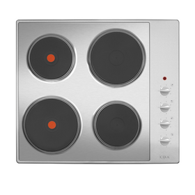 CDA HE6052SS 60cm Stainless Steel Solid Plate 4 Zone Electric Easy Clean Hob