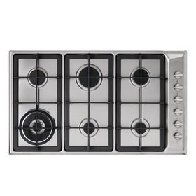 CDA HG9321SS 90cm Stainless Steel 6 Burner Gas Hob With Cast Iron Pan Stands