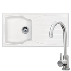 Astracast Sierra 1.0 Bowl White Sink & KT6BN Brushed Nickel Kitchen Mixer Tap