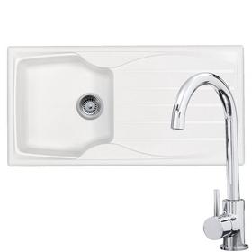 Astracast Sierra 1.0 Bowl White Reversible Kitchen Sink & KT6CH Swan Neck Tap