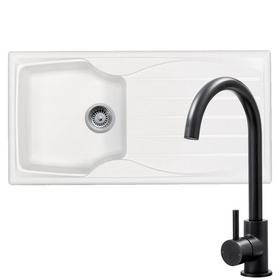 Astracast Sierra 1.0 Bowl White Kitchen Sink & Black Swan Neck Kitchen Mixer Tap
