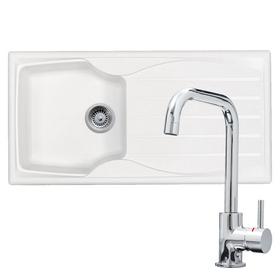 Astracast Sierra 1.0 Bowl White Kitchen Sink & KT6CHD Chrome U-shaped Mixer Tap