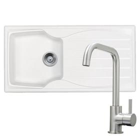 Astracast Sierra 1.0 Bowl White Sink & KT6BND Brushed Nickel U-shaped Mixer Tap