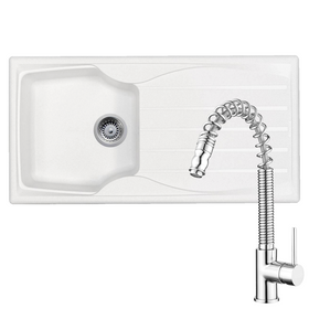 Astracast Sierra 1 Bowl White Kitchen Sink & KT7 Pullout Spray Chrome Mixer Tap