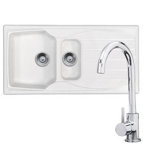 Astracast Sierra 1.5 Bowl White Kitchen Sink & KT6CH Chrome Swan Neck Mixer Tap