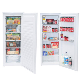 SIA White Freestanding 606L Tall Larder Fridge & Freezer, 55x143cm, A+ Rated