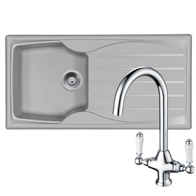 Astracast Sierra 1 Bowl Light Grey Kitchen Sink & KT2 Chrome Twin Lever Tap