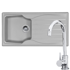 Astracast Sierra 1 Bowl Light Grey Kitchen Sink & Chrome Single Lever Mixer Tap