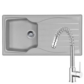 Astracast Sierra 1 Bowl Light Grey Kitchen Sink & KT7 Pull-out Spray Mixer Tap